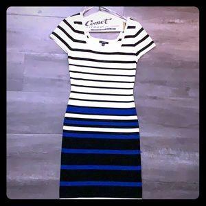 XOXO royal blue white & black Bodycon dress